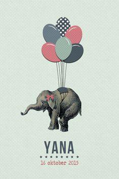 Geboortekaartje Yana - meisje of jongen - Pimpelpluis - https://www.facebook.com/pages/Pimpelpluis/188675421305550?ref=hl (# retro - vintage - circus - dieren - olifant - ballon - ballonnen - origineel)