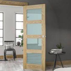 Frosted Glass Interior Doors, Oak Interior Doors, Frosted Glass Door, Contemporary Interior Doors, Oak Fire Doors, Oak Doors, Two Panel Doors, Glass Panel Door, Solid Oak Internal Doors