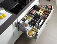Kitchen Drawer Design Ideas - Photos of Kitchen Drawers. Browse Photos from Australian Designers & Trade Professionals, Create an Inspiration Board to save your favourite images. Kitchen Drawer Inserts, Kitchen Drawers, Kitchen Cabinet Design, Kitchen Pantry, Interior Design Kitchen, New Kitchen, Kitchen Decor, Smart Kitchen, Cabinet Space