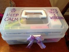 "I'd change this to say ""Keep Calm and GET MARRIED!"" But I like the idea of a wedding survival kit"