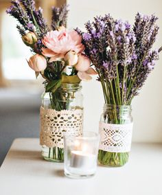 Love lavender bouquets and the lace on the mason jars. Lace not necessary, but pretty if we have time/budget. Lavender bouquets would be easy.