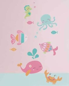 Under The Sea Wall Appliques Stickers Sea Animals Girls Wall Decals by Carters | eBay