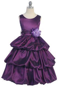 Purple Taffeta Bubbled Flower girl or Junior bridesmaids