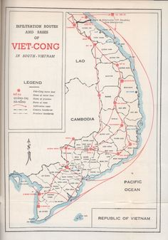 "Map of guerrilla routes from North Vietnam to the south. The famous ""Ho Chi Minh Trail"". Vietnam Map, Vietnam History, Vietnam War Photos, North Vietnam, Ho Chi Minh Trail, Us Army Rangers, Map Layout, My War, American War"