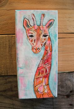 """""""Giraffe"""" an original mixed media painting by Tyler Larsen. This creative piece incorporates various mediums: acrylic paints, torn papers, cloth fabric and pens on a recycled, or should I say """"up-cycl"""