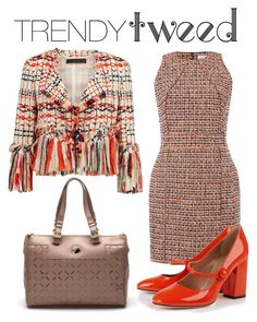 """Trendy Tweed"" by homespunjoy on Polyvore featuring dVb Victoria Beckham, Donna Karan, RED Valentino, Versace, women's clothing, women, female, woman, misses and juniors"