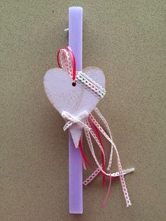 Αρωματική λαμπάδα με ξύλινη καρδιά! Easter Ideas, Candles, Candy, Candle Sticks, Candle