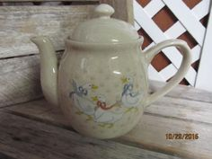 Vintage 1988 WPI Country Ducks Geese teapot Country Chic Decor Ivory by EvenTheKitchenSinkOH on Etsy
