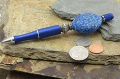 Royal Blue Antiqued Writing Pen, Designer Pen with Silver Trim & Blue Glass Marbled Bead, Refillable Blue Ink, Special Unique Birthday Gift