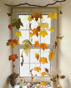 Leaf mobile, autumn mobile, waxed leaves  Leaf Crafts - This Mother - A UK Family and Travel Blog