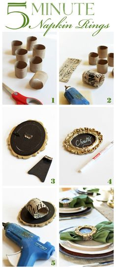 Neutral Fall Tablescape {& Five Minute Napkin Rings}, . Neutral Fall Tablescape {& Five Minute Napkin Rings}, Mini Photo Frames, Picture Frames, Tube Carton, Christmas Crafts, Christmas Decorations, Diy Rings, Diy Napkin Rings, Christmas Napkin Rings, Napkin Folding