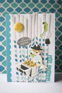 Patricia here with you today. Her piece inspired me to create strips from the Treasure Map pattern. Boy Cards, Kids Cards, Bon Voyage Cards, October Afternoon, Baby Boy Scrapbook, Treasure Maps, And So The Adventure Begins, Pirate Party, Paper Cards