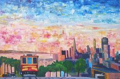 """Saatchi Art is pleased to offer the painting, """"San Francisco Cable Car With Skyline and Bay,"""" by M Bleichner, available for purchase at $1.957 USD. Original Painting: Acrylic on Canvas. Size is 31.5 H x 47.2 W x 1.6 in. Original Paintings For Sale, Original Artwork, San Francisco Cable Car, Retro Poster, Impressionism Art, Cool Artwork, Canvas Art, Canvas Size, Saatchi Art"""