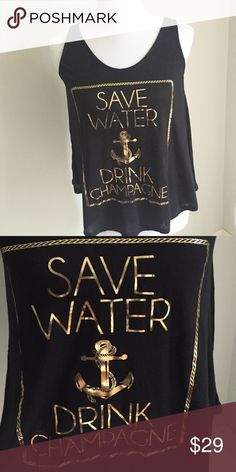 "HOST PICK Sz S Save Water Drink Champagne tank Love this tank!!! Super lightweight, comfy & very stretchy, loose fit. 100% Rayon. Perfect for summer over a bikini!                                   Small: 34"" bust, 22"" length Medium: 36"" bust, 23"" length Large: 38"" bust, 24"" length Means final price, no offers  Boutique Tops Tank Tops"