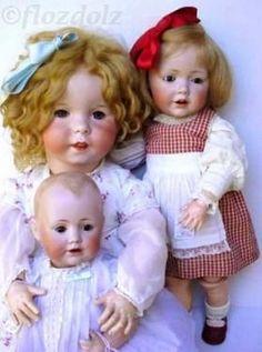 """Front: 15"""" Baby Jean, Kestner JDK, ca. 1910  Middle: 28"""" Twirp, SFBJ #247, ca. 1920  Right: 18½"""" Hilda toddler, mold #245  By Kestner, ca. 1914"""