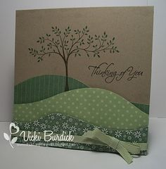 Stamp tree on card base.  ⊱✿-✿⊰ Follow the Cards and paper crafts board. Visit GrannyEnchanted.Com for thousands of digital scrapbook freebies. ⊱✿-✿⊰