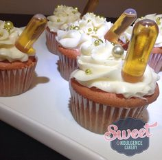 Strawberry cupcakes with vanilla bean buttercream and remy martin shot pipettes