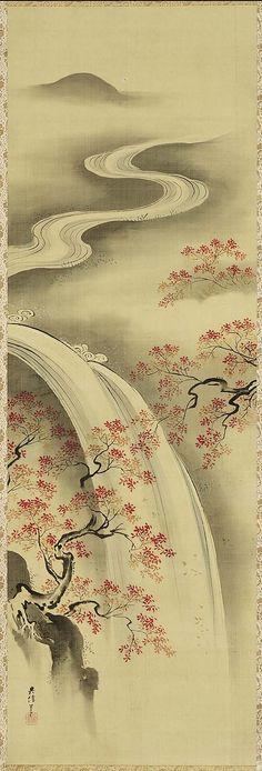 Waterfall and Autumn Foliage  Taki ni Koyo zu Japanese latter half of the 18th century Kano Eisen'in Michinobu (Japanese, 1730–1790 Japanese)