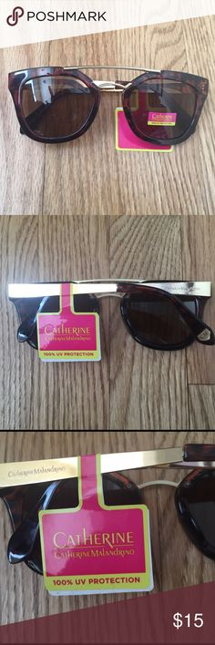 NWT!  Catherine Malandrino sunglasses NWT!  Catherine Malandrino sunglasses with brow bar.  BRAND NEW.   Tortoise shell frames with gold accents. Catherine Malandrino Accessories Sunglasses