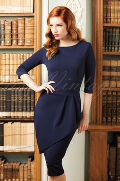 714e47d8bc 50s Vicky Pencil Dress in Navy