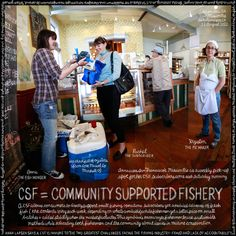 Siren Fish Co. founder Anna Larsen gives seafood to a member of her community supported fishery. Photo: Douglas Gayeton