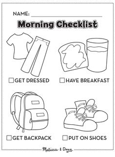 Morning checklist for kids getting into the back-to-school routine *Love this free printable