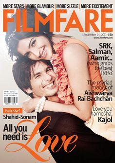 Sonam Kapoor and Shahid Kapoor on Filmfare