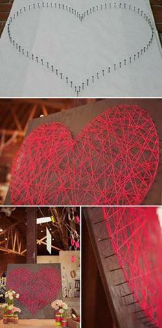 Heart made out of yarn or thread, looks like a great idea for a diy wedding gift...I wonder if there's a way to put their names in it...hmm.