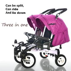 176.59$  Buy here  - design pram stroller Baby single double folding trolley twins tricycle car bike baby stroller can sit and lie down for 0-6 years