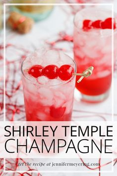 Quick and simple way to dress up your champagne by turning it into a classic childhood favorite drink, the Shirley Temple! Easy Drink Recipes, Best Cocktail Recipes, Light Recipes, Cooking Recipes, Top Recipes, Spicy Candy, Watermelon Lemonade, Star Food, Cocktails