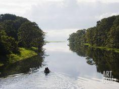 Boat on Lago De Yojoa, Lake Yojoa, Honduras, Central America Photographic Print by Christian Kober at Art.com