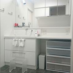 イベント参加/着替え置き/造作家具/洗面所/ゴミ箱/無印良品…などのインテリア実例 - 2017-02-06 12:55:26 | RoomClip(ルームクリップ) Bathroom Vanity, Storage, Washroom, Cabinet, Small Kitchen, Furniture, House, Home Decor, Bathroom