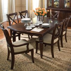 Keswick Round Pedestal Table w/ 4 Side Chairs by Kincaid Furniture #homedecor #fall #dining