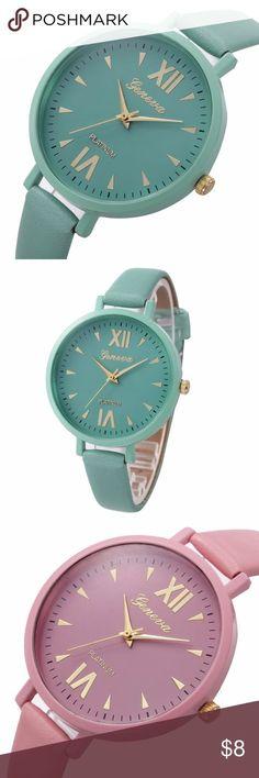 Geneva Watch Faux Leather Band, Analog Quartz, Fashion Watch, Women, Girl Geneva Accessories Watches