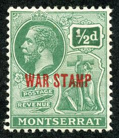 Montserrat  War Stamp 1917 Scott MR1 1/2p green Overprinted in Red