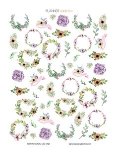 Free Printable Planner Stickers - Watercolor Floral