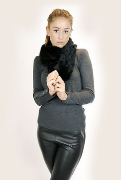 JESSIMARA BLACK KNITTED RABBIT DOUBLE SNOOD – Jessimara Confident Woman, Black Knit, Leather Fashion, Leather Pants, Rabbit, Turtle Neck, Coat, Sweaters, How To Wear
