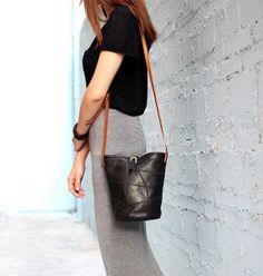 Sheepskin leather bucket bag in Black Women by JoyandSurprise, $87.00