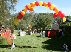 Balloon archway into the party