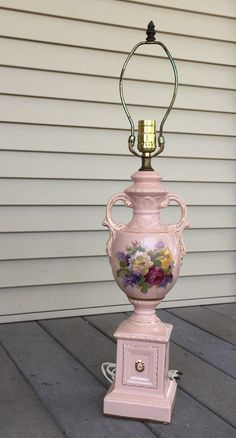 Tall Floral Table Lamp Porcelain Pink Urn Lamp Flowers by ravished