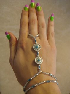 Silver and Turqouise Barefoot Sandals Slave by HouseOfBlaise, $15.00