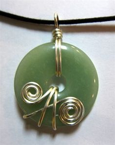 Green Aventurine Wire Wrapped Donut by tangledupinhue on Etsy, $12.00