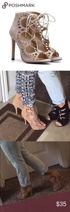 Tan cut out lace up heels Super cute tan lace up heels, I'm not home at the moment so I don't have any pics of just the shoes, but they are in mint condition, only worn once besides around my house! Black wedges available as well(: can drop the price if paid through 🅿️🅿️F&F Shoes Heels