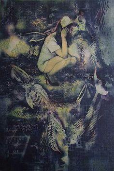 「深海の光-覗く人」小林美佐子  銅版画・リトグラフ・手彩色 74×49cm 2014年制作