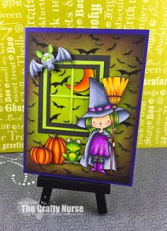 "The Crafty Nurse | I used the My Favorite Things ""Witch Way Candy"" an adorable stamp set I've been wanting to use for some time. I colored all the images with Copic Markers and fussy cut them all. The window die is also MFT and the background stamp is Hero Arts. I finished up distressing the edges."