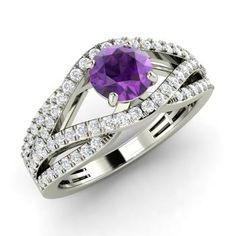 Round Amethyst  and Diamond  Sidestone Ring in 14k White Gold