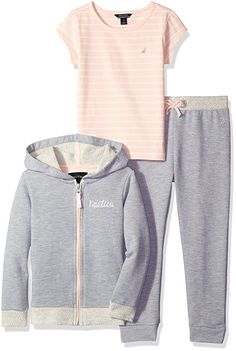 Nautica Little Girls' Toddler French Terry Jacket and Tee Set, Light Grey Heather, 2T#ad