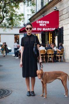 Quintessential Parisian chic. Eloise with longer skirt. Black Sheer. Spring.