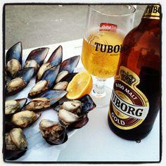 Midye Dolma - Turkish food- stuffed clams and beer