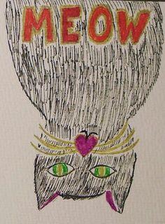 Zeichnung, Illustration, selbstgemacht, zeichnen, malen, Katze